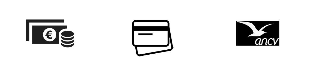Espece ; Carte bancaire ; Chèques vacances ANCV